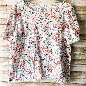 LOFT floral short sleeved blouse